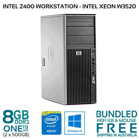 HP Z400 WORKSTATION INTEL XEON W3520 2 67GH 8GB 1TB HDD NVDIA QUADRO FX1700  W10P
